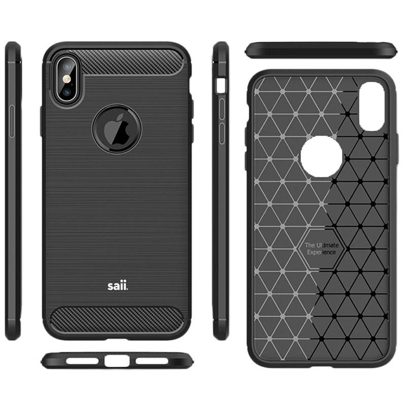 Saii Brushed iPhone XS Max TPU Case - Carbon Fiber - Black