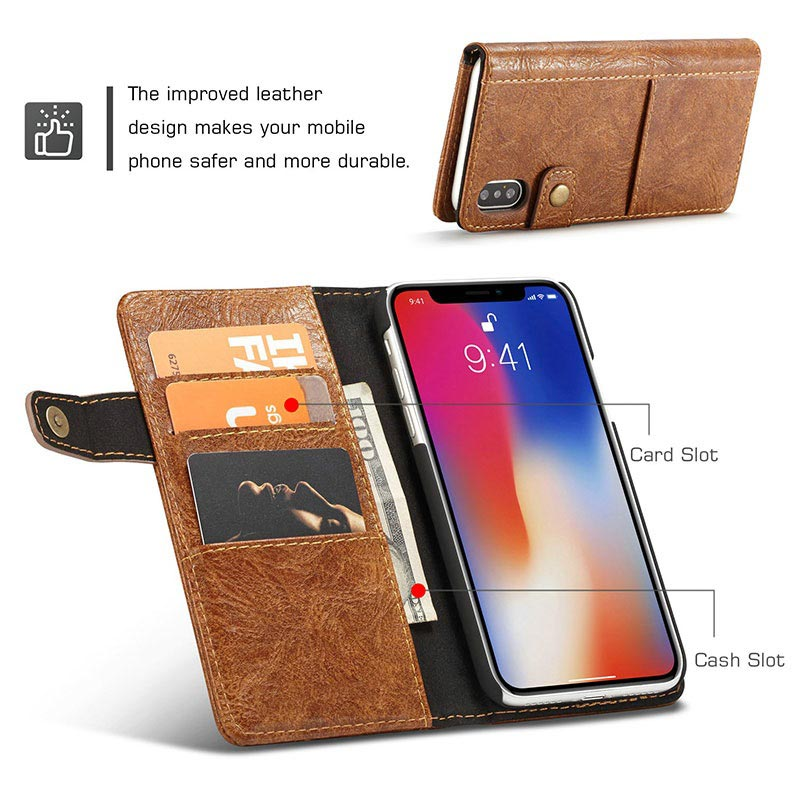 iPhone X Saii Retro Multi-slot Wallet Case - Brown