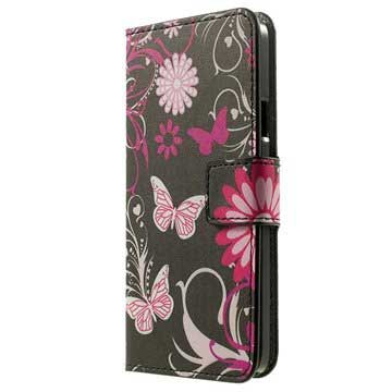 Samsung Galaxy A3 (2015) Stylish Wallet Case - Butterflies / Flowers