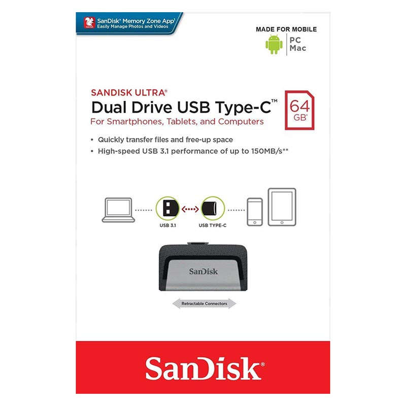 SanDisk Ultra Dual Drive USB Type-C Flash Drive SDDDC2-064G-G46 - 64GB