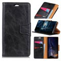 Nokia 7.1 Leather Wallet Case with Magnetic Closure - Black