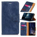 Nokia 7.1 Leather Wallet Case with Magnetic Closure - Dark Blue