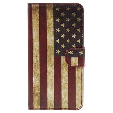 Samsung Galaxy J5 (2015) Stylish Wallet Case - Vintage American Flag