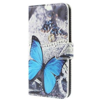 Samsung Galaxy S6 Edge Stylish Wallet Case - Blue Butterfly