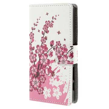 Sony Xperia Z5 Compact Stylish Wallet Case - Pink Flowers