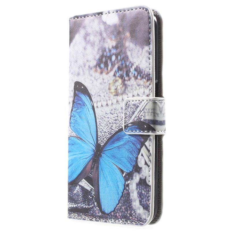 Samsung Galaxy S6 Stylish Wallet Case - Blue Butterfly