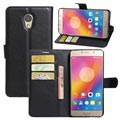Lenovo P2 Textured Wallet Case with Kickstand - Black