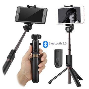 Universal 3-in-1 Bluetooth Selfie Stick with Tripod - Black