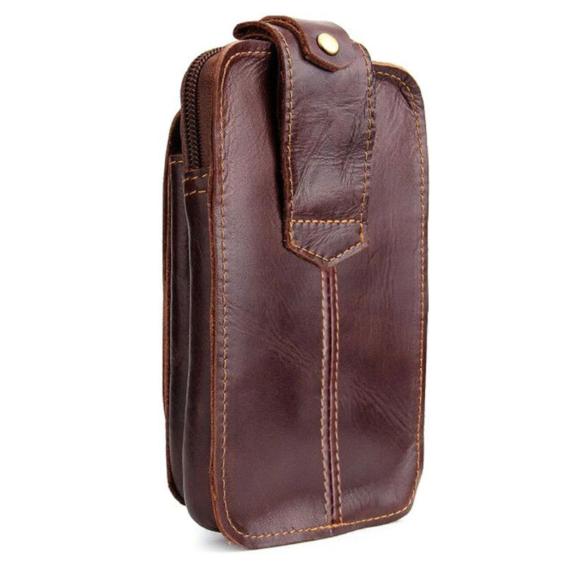 Universal Double Pocket Leather Waist Bag - Brown