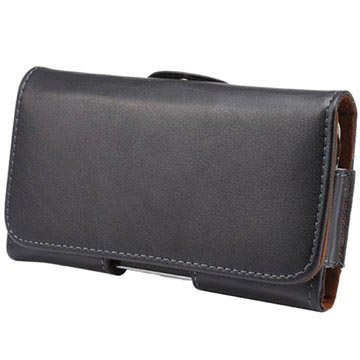 Universal Horizontal Holster Leather Case - Black