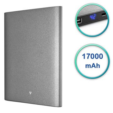 V7 Ultra Slim Dual USB Power Bank - 17000mAh - Grey