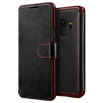Samsung Galaxy S9 VRS Design Layered Dandy Wallet Case - Black / Red