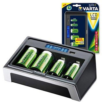 Varta LCD Universal Battery Charger 57678 - Black