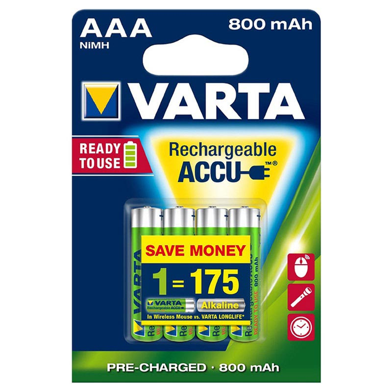 Varta Ready2Use Rechargeable AAA Batteries - 800mAh