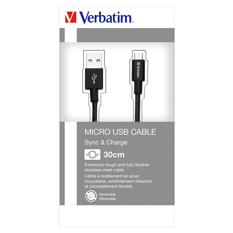 Verbatim Sync & Charge MicroUSB Cable - 0.3m - Black
