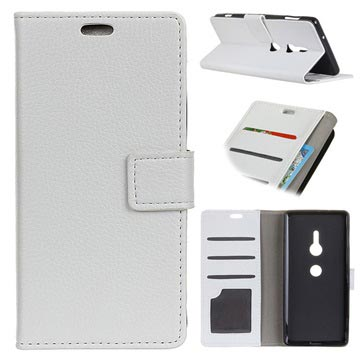Sony Xperia XZ3 Wallet Case with Stand Feature - White