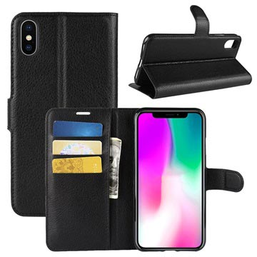 iPhone XR Wallet Case with Magnetic Closure - Black