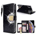 iPhone XS Max Glitter Wallet Case - Black