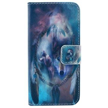 iPhone 5 / 5S / SE Wallet Leather Case - Wolves / Dreamcatcher