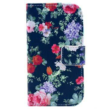 Samsung Galaxy S Duos S7562, Trend Plus S7580  Wallet Case - Colorful Flowers