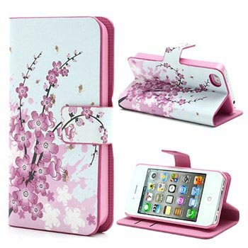 iPhone 4 / 4S Wallet Case - Pink Flowers