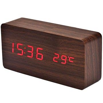 LED Alarm Clock - Wooden Design