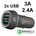 iFrogz Unique Sync Premium Qualcomm QC 3.0 Car Charger - Black
